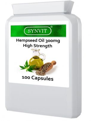 High Strength hempseed Oil 300mg 100 Capsules Omega 3 6 Synvit®